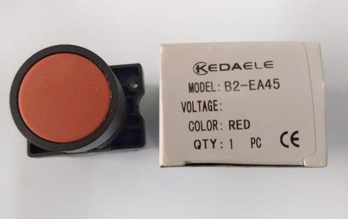 Remate Pulsador Electricidad 415v 10a 22mm  Largo 54mm Rojo