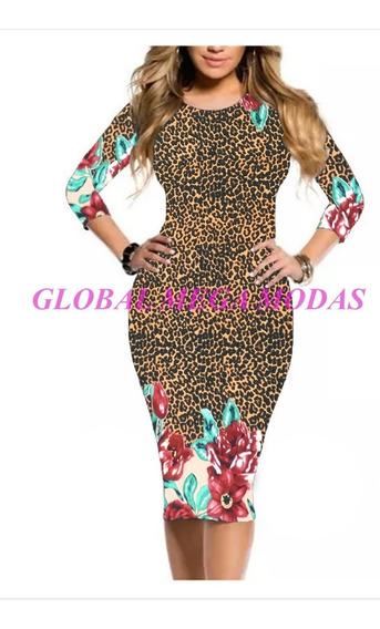 Vestido Midi 3/4 Tubinho Moda Evangélica Blogueira Casual