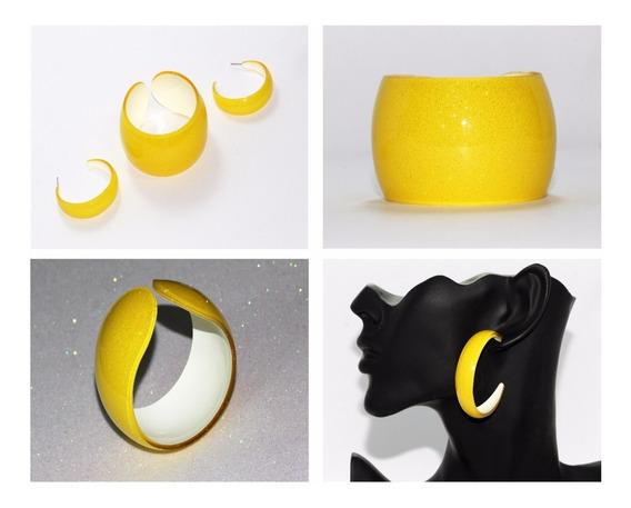 Pulsera Y Aretes Moda Retro Amarillo Brillos Bisuteria Pc575