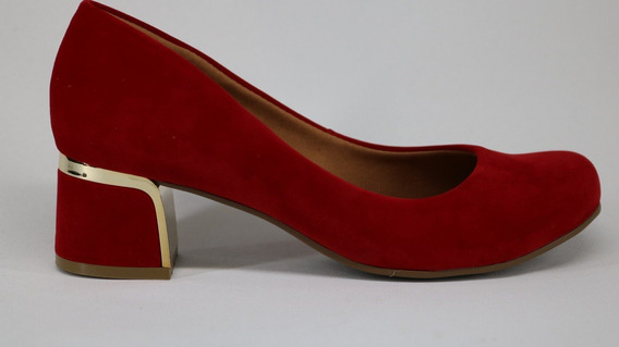 Sapato Bebecê Salto Médio Bico Redondo Vermelho