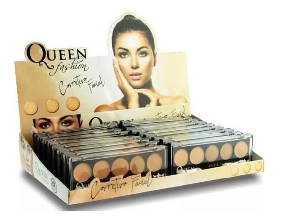 Caixa 16 Paleta Corretivo Facial Queen Matte 5 Cores Atacado