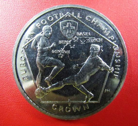 Isla De Man Moneda 1 Crown 2008 Unc Copa Europa Suiza