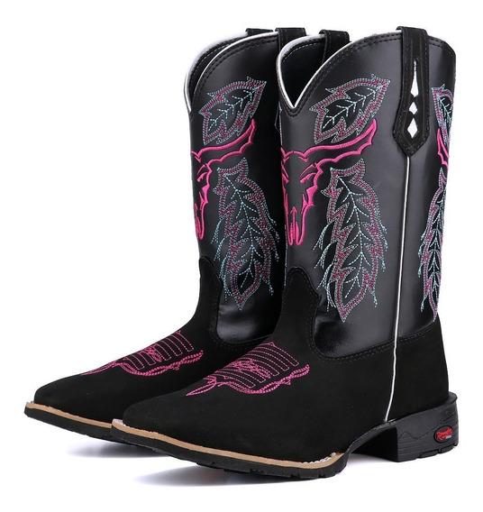 Bota Texana Montaria + Brinde Bico Quadrado Feminina Country