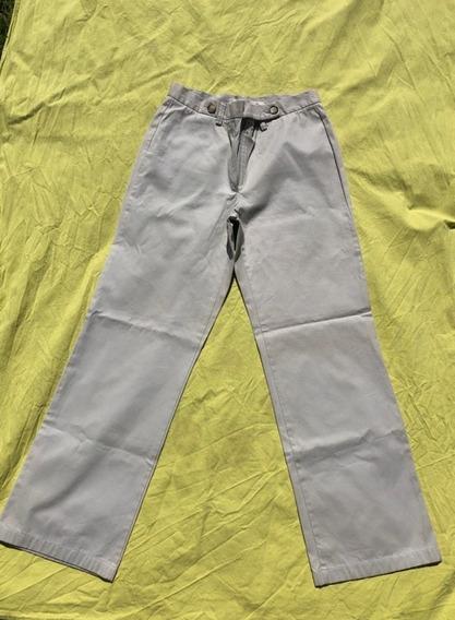 Pantalon Recto Marca Giesso Mujer Gris Talle 3 O M Algodón