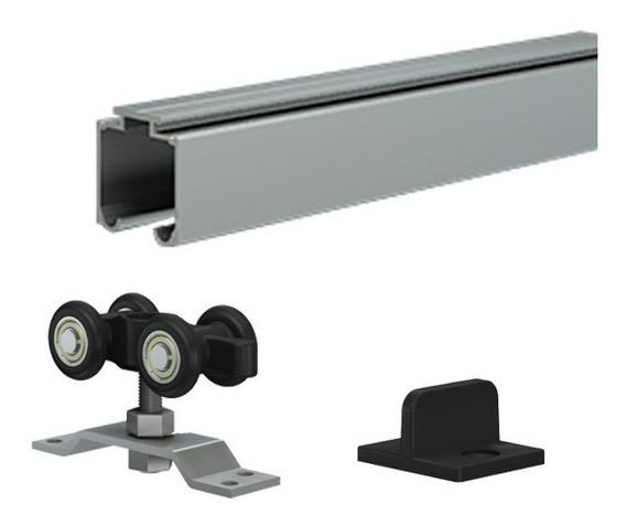 Kit Puerta Corrediza 2 Mts Aluminio Mr Plus Mueble 2mt Hogar