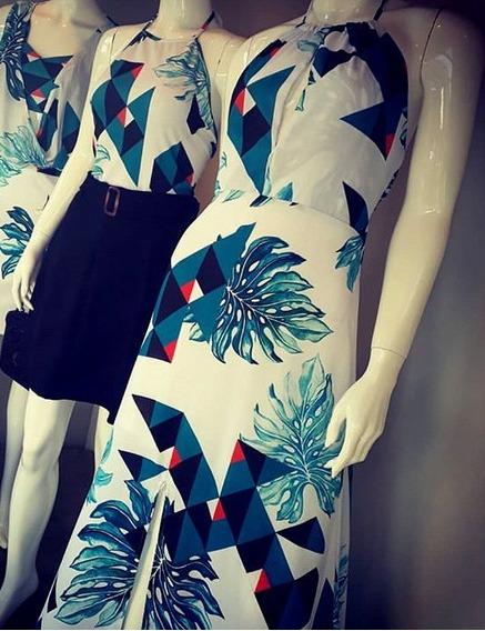 Vestido Longo Frente Unica Branco Com Azul Floral Tam P