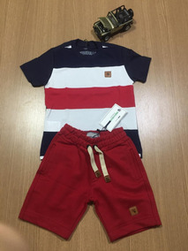 Roupa Infantil Menino Camisa Listrada+ Short Moletom 2 Anos#