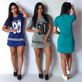Camisa Longline Vestido Camisão Feminino Ny Kings Swag 099