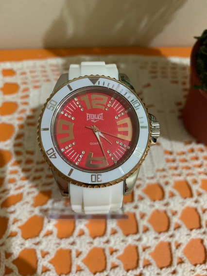 Relógio Everlast Feminino Branco E Vermelho - Raro