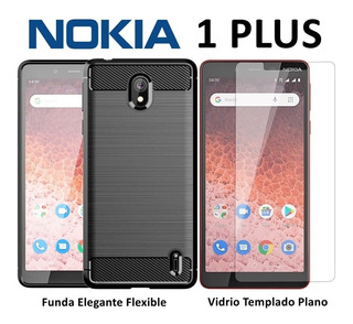 Funda Flexible Elegante + Templado Plano Nokia 1 Plus Rosari