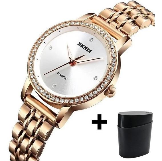 Relógio Feminino Luxo Skmei 1311 Ouro Rose C/ Caixa Presente