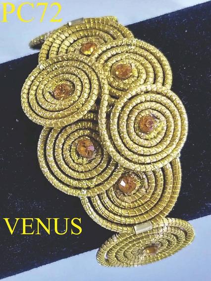 Pulseira De Capim Dourado Cristais 100% Swarovski P72 Venus