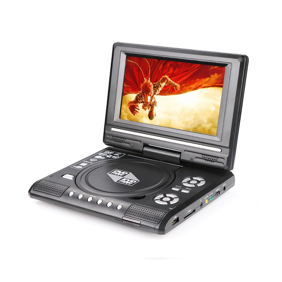 Dvd Portatil Com Tela De 7 Gira 270º Com Sd Usb Fm Jogos