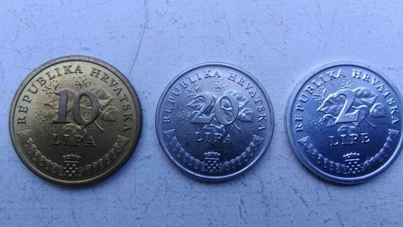 Moneda Croacia Sin Circular 20/10 /lipa 2 Lipe 1993 Lote X 3