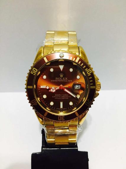 Relógio Submariner Dourado Marrom + 2 Baterias + Frete