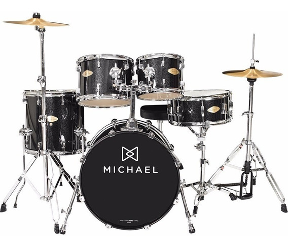 Bateria Acústica Michael Classic Pro Dm843 C/ Bumbo 22 Bks