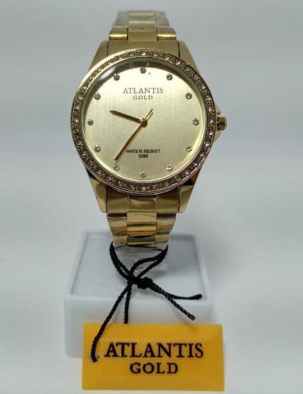 Relógio Atlantis G3476 Dourado Feminino Novo Original
