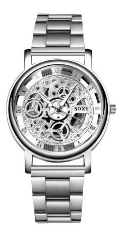 Relógio Masculino Soxy Prateado Com Engrenagens Marca Top