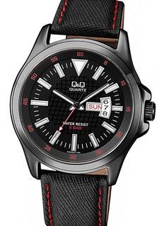Reloj Q&q A200j502y By Citizen Doble Fechador Acero Negro