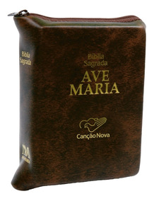 Livro Bíblia Ave Maria Média Com Zíper - Marrom