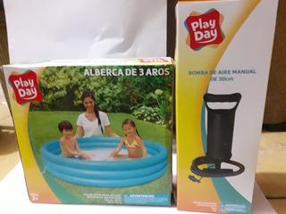 Alberca De 3 Aros Play Day Incluye Bomba De Aire Manual