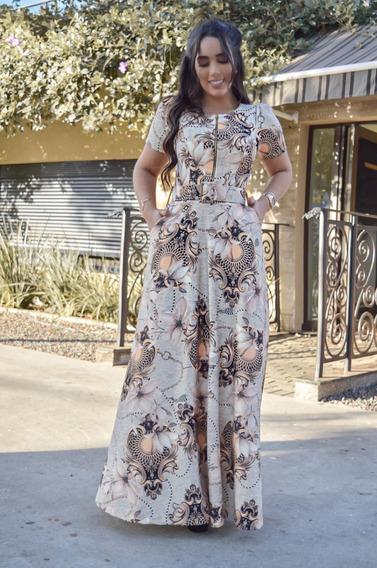 Vestido Longo Rodado Princesa Luxo Com Cinto Com Zíper Amamentação Moda Evangélica