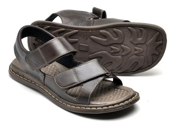 Sandália Papete Masculina Couro Confortável E Leve Promoção
