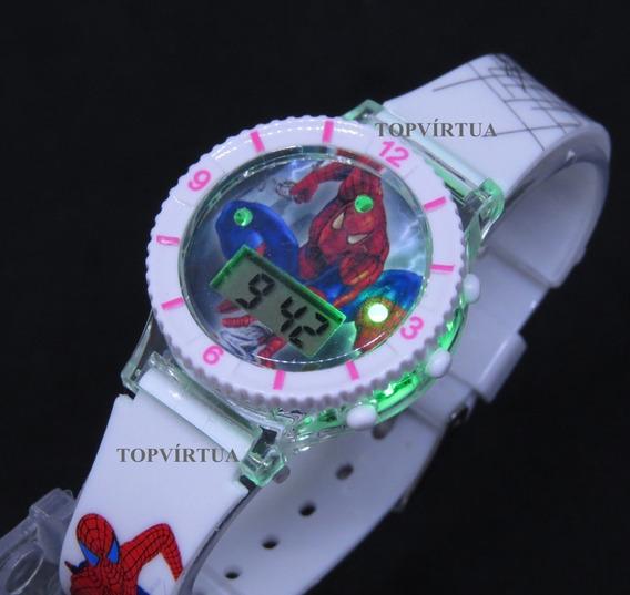 Relógio Homem Aranha Digital 3d Som Luz Branco Top Original
