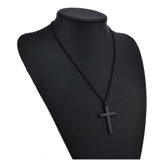Colar Cordao Corrente Masculina Aço Inox Cruz Crucifixo