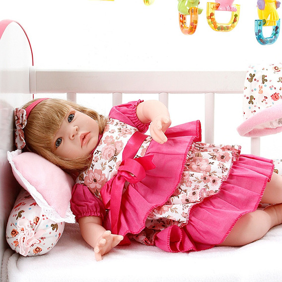 Boneca Bebê Reborn Balone Caqui Cegonha Dolls 22 Acessórios