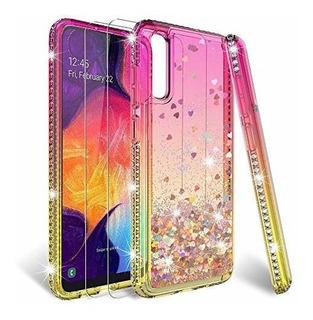 Hatoshi Galaxy A50 Funda Con Purpurina Y Protector De Pantal