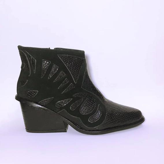 Bota Texana De Cuero Color Negro N° 36, 39 Y 41