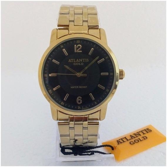 Relógio Masculino Atlantis Dourado Prova Dagua Original Vip