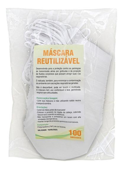Mascara De Tnt Duplo Cirurgica Lavável Kit Com 100 Unidades