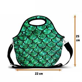 Bolsa Sereia Verde Esmeralda Escamas Em Neoprene