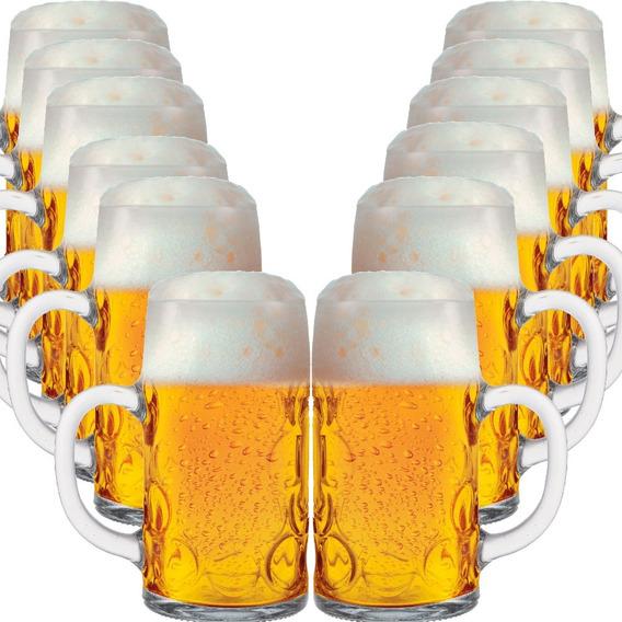 Caneca Chopp Caneca Cerveja Vidro Alema 1 Litro Masskrug 12p