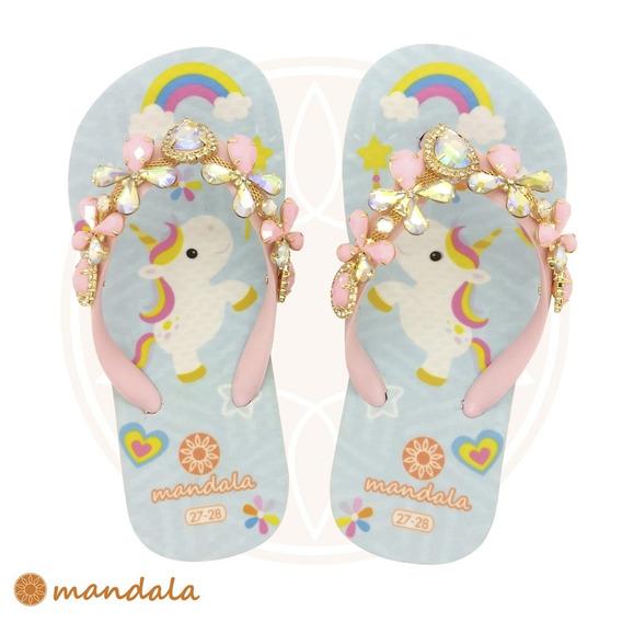 Chinelo Mandala Kids Cristal Unicórnio