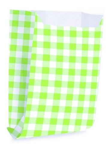 Imagem 1 de 3 de 50 Saquinhos Para Lanche Xadrez Verde Pqn Decoração Festas