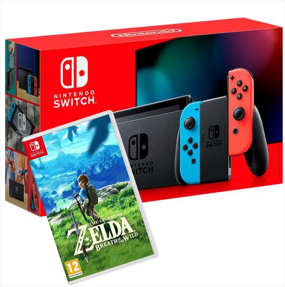 Nintendo Switch Neon + Zelda Breath Of The Wild Mídia Física