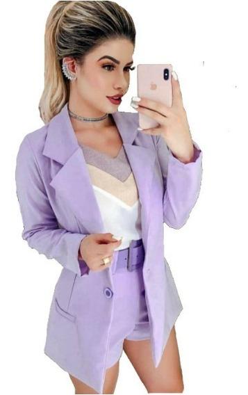 Conjunto Feminino Blazer Alfaiataria + Short Cintura Alta