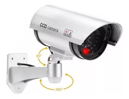 Cámara Seguridad Falsa Exterior Luz Led Vigilancia