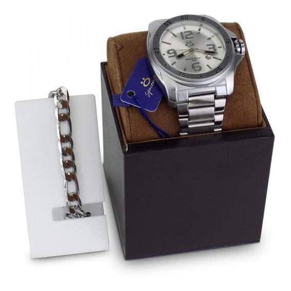 Relógio Masculino Original Aço Garantia Caixa Prata