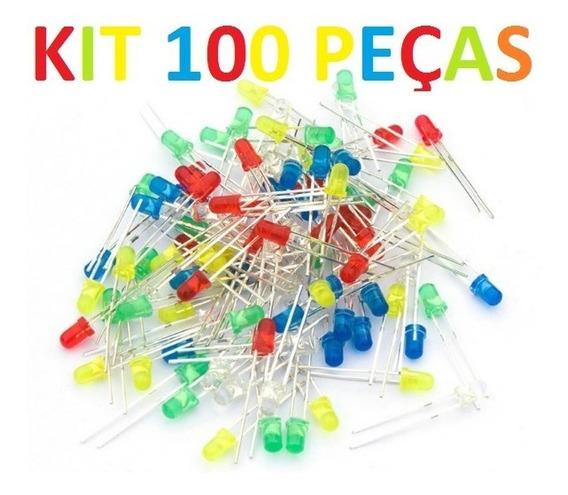 Kit 100x Led 5 Cores 3mm 100pcs + 30 Resistor 220 Ohm