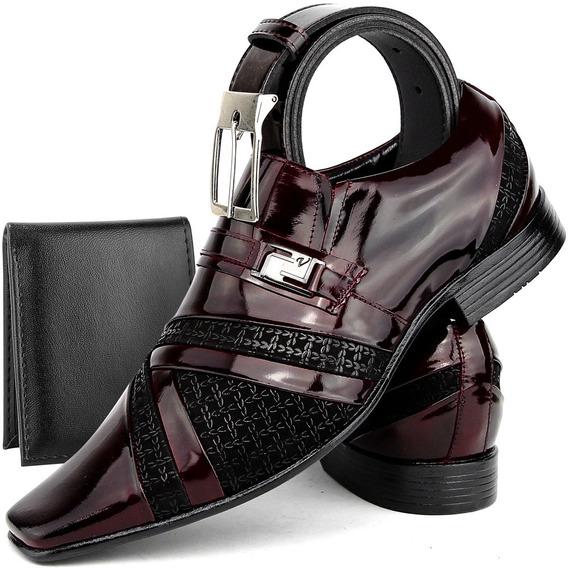 Sapato Social Masculino Couro Verniz Promoção Kit Acessórios