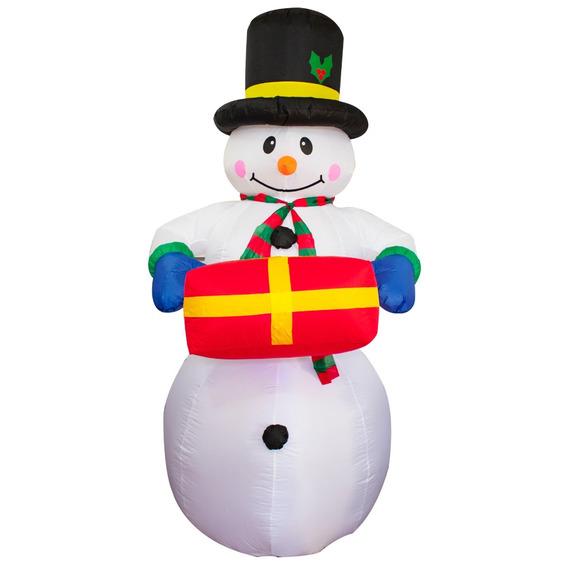 Muñeco De Nieve Con Regalo Inflable Navidad Iluminado Luz
