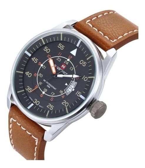 Relógio Naviforce 9044 Prata Pulseira Marrom Casual Bonito
