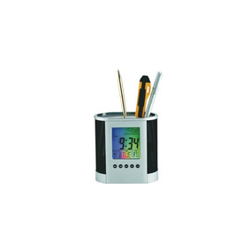 Porta Canetas Com Termômetro, Calendário E Display Colorido