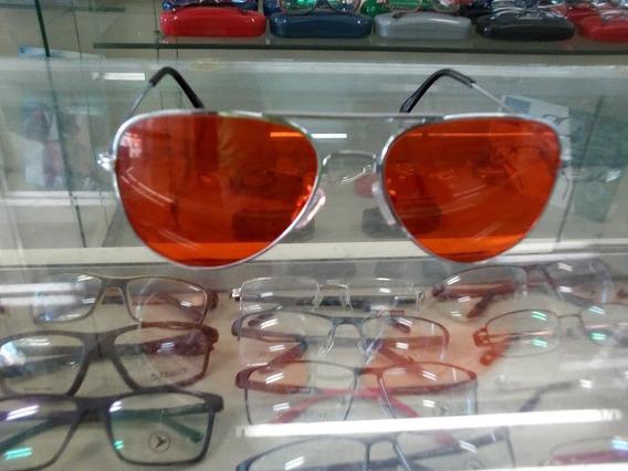 Óculos De Sol Aviador Cromado C/ Lentes Vermelha