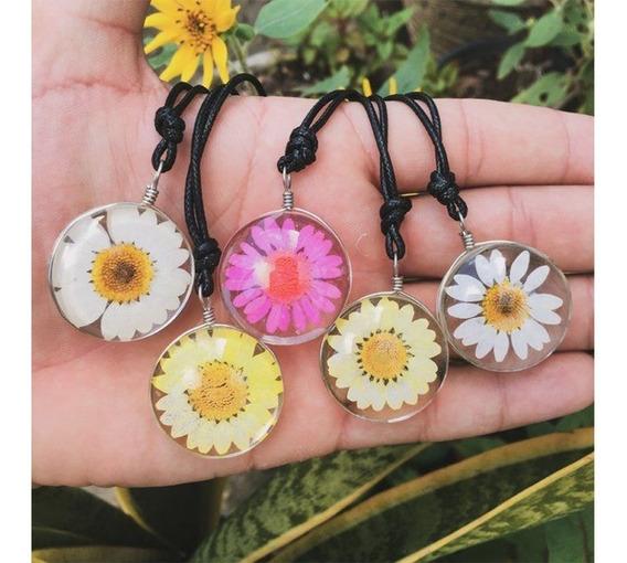Colar De Flor Natural Margarida Campo Juventude Amor