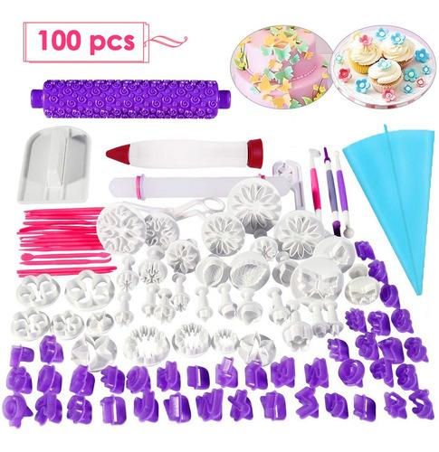 Kit Para Decoración De Pastel 100 Moldes Cortadores